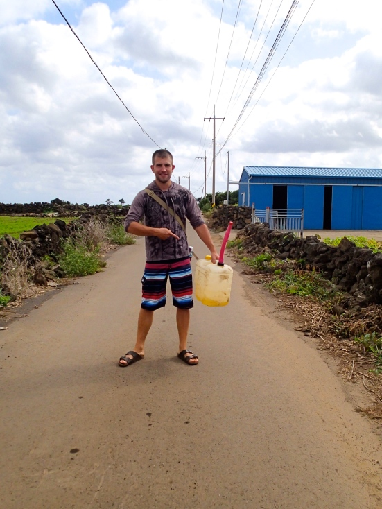 After realizing our scooter was out of gas on Chuseok morning, we trekked out into the countryside and a friendly farmer gave us some gas.